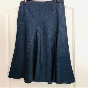 Gored denim short skirt